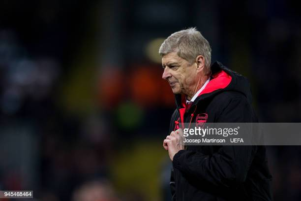 Head coach Arsene Wenger of Arsenal reacts after Aaron Ramsey of Arsenal scores during the UEFA Europa League quarter final leg two match between...