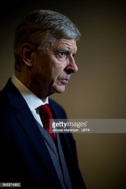 Head coach Arsene Wenger of Arsenal speaks to the media prior to the UEFA Europa League quarter final leg two match between CSKA Moskva and Arsenal...
