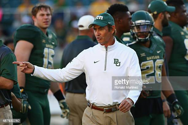 Head coach Art Briles of the Baylor Bears before a game against the Lamar Cardinals at McLane Stadium on September 12, 2015 in Waco, Texas.
