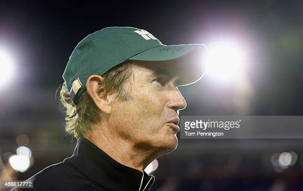 Head coach Art Briles of the Baylor Bears celebrates after the Bears beat the Southern Methodist Mustangs 56-21 at Gerald J. Ford Stadium on...
