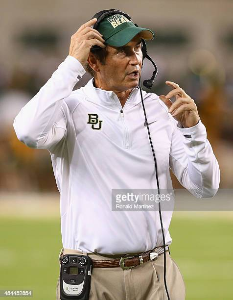 Head coach Art Briles of the Baylor Bears during play against the Southern Methodist Mustangs at McLane Stadium on August 31, 2014 in Waco, Texas.
