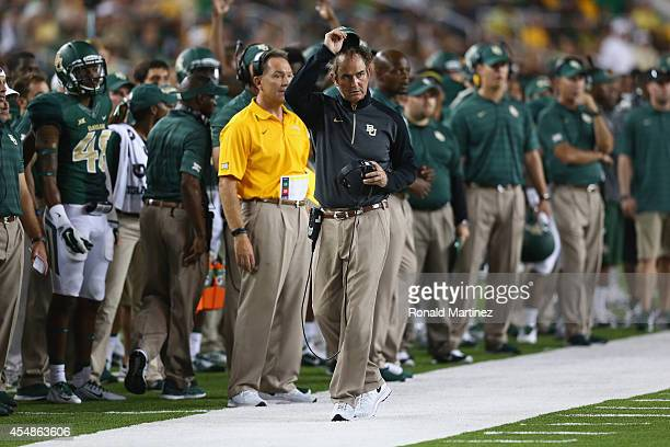 Head coach Art Briles of the Baylor Bears during play against the Northwestern State Demons at McLane Stadium on September 6, 2014 in Waco, Texas.