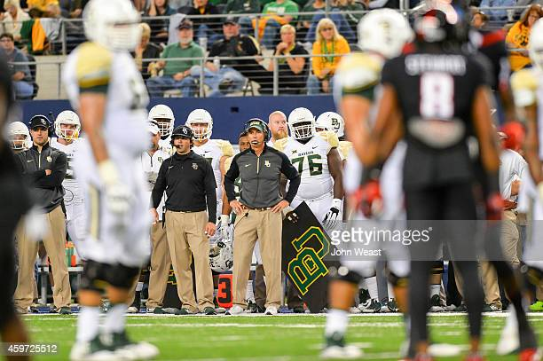 Head coach Art Briles of the Baylor Bears during the game against the Texas Tech Red Raiders on November 29, 2014 at AT&T Stadium in Arlington,...