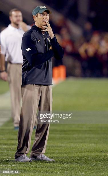 Head coach Art Briles of the Baylor Bears in the second half of play at Jack Trice Stadium on September 27, 2014 in Ames, Iowa. Baylor defeated Iowa...