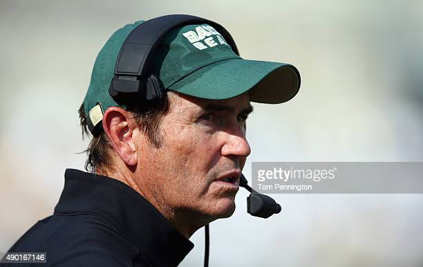 Head coach Art Briles of the Baylor Bears leads his team against the Rice Owls at McLane Stadium on September 26, 2015 in Waco, Texas.