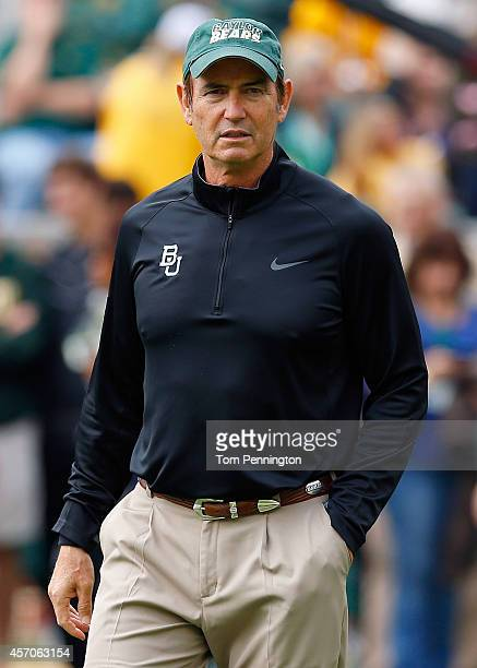 Head coach Art Briles of the Baylor Bears looks on as the Bears prepare to take on the TCU Horned Frogs at McLane Stadium on October 11, 2014 in...