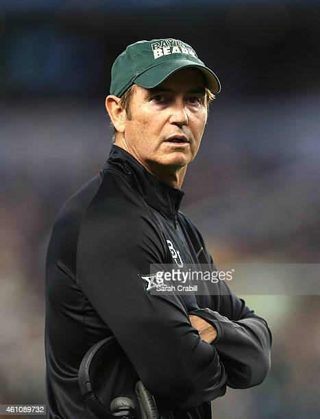 Head Coach Art Briles of the Baylor Bears looks on during the Goodyear Cotton Bowl Classic game against the Michigan State Spartans at AT&T Stadium...