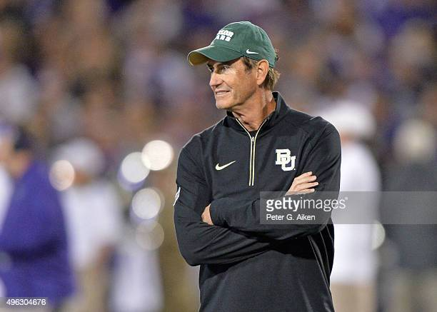 Head coach Art Briles of the Baylor Bears looks on prior to a game against the Kansas State Wildcats on November 5, 2015 at Bill Snyder Family...