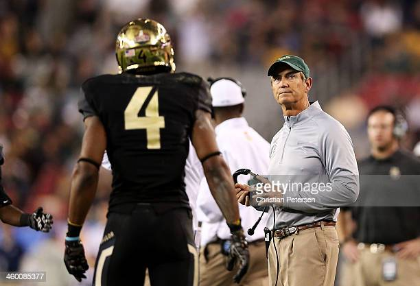 Head coach Art Briles of the Baylor Bears reacts during their 42 to 52 loss to the UCF Knights during the Tostitos Fiesta Bowl at University of...