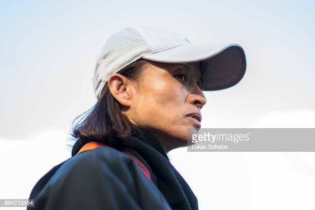 Head Coach Asako Takakura of Japan arrives prior to the Women's International Friendly match between Netherlands and Japan at Rat Verlegh Stadion on...