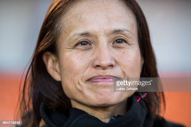 Head Coach Asako Takakura of Japan looks on prio to the Women's International Friendly match between Netherlands and Japan at Rat Verlegh Stadion on...