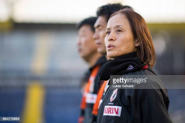 Head Coach Asako Takakura of Japan looks on prior to the Women's International Friendly match between Netherlands and Japan at Rat Verlegh Stadion on...