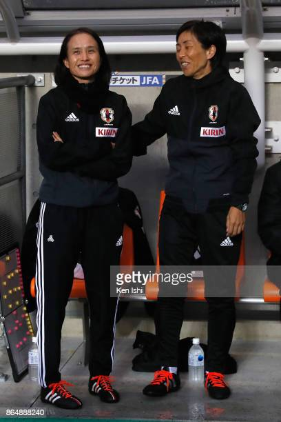 Head coach Asako Takakura of Japan talks with coach Yumi Obe prior to the international friendly match between Japan and Switzerland at Nagano U...