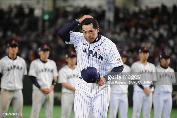 Head coach Atsunori Inaba of Japan bows at the award ceremony after the Eneos Asia Professional Baseball Championship 2017 final game between Japan...