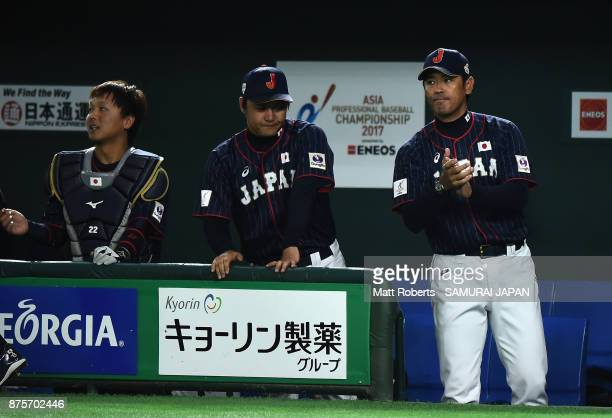 Head coach Atsunori Inaba of Japan celebrates after Infielder Go Matsumoto hits a tworun double in the top of seventh inning during the Eneos Asia...