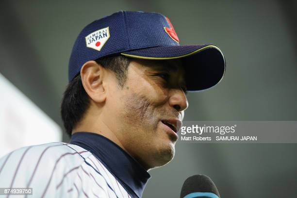 Head coach Atsunori Inaba of Japan is interviewed after his team's 87 victory in the Eneos Asia Professional Baseball Championship 2017 game between...