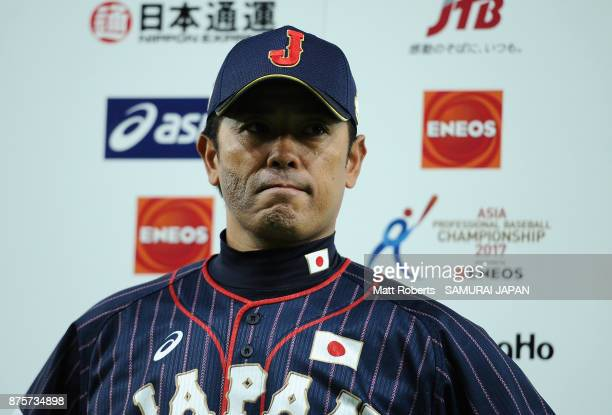 Head coach Atsunori Inaba of Japan is interviewed after the Eneos Asia Professional Baseball Championship 2017 game between Chinese Taipei and Japan...
