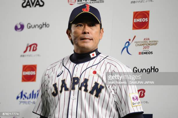 Head coach Atsunori Inaba of Japan is interviewed after the Eneos Asia Professional Baseball Championship 2017 final game between Japan and South...