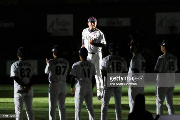 Head coach Atsunori Inaba of Japan is introduced prior to the Eneos Asia Professional Baseball Championship 2017 game between Japan and South Korea...