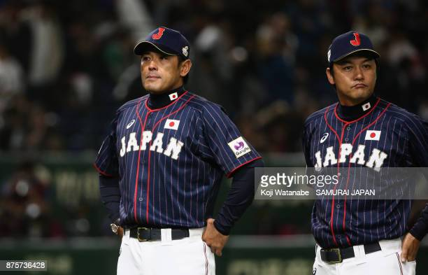 Head coach Atsunori Inaba of Japan is seen after the Eneos Asia Professional Baseball Championship 2017 game between Chinese Taipei and Japan at...