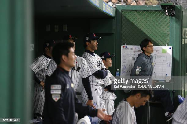 Head coach Atsunori Inaba of Japan looks on in the dugout during the Eneos Asia Professional Baseball Championship 2017 final game between Japan and...