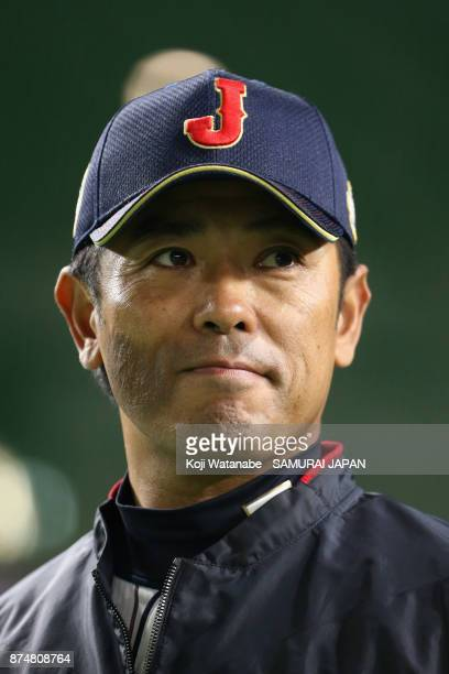 Head coach Atsunori Inaba of Japan looks on prior to the Eneos Asia Professional Baseball Championship 2017 game between Japan and South Korea at...
