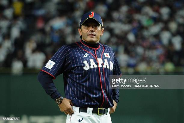 Head coach Atsunori Inaba of Japan looks on prior to the Eneos Asia Professional Baseball Championship 2017 game between Chinese Taipei and Japan at...