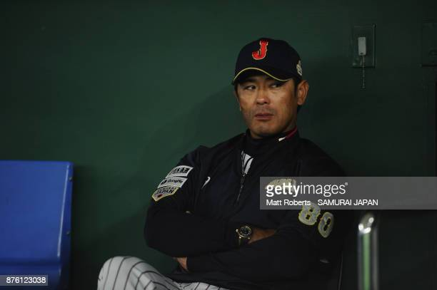 Head coach Atsunori Inaba of Japan looks on prior to the Eneos Asia Professional Baseball Championship 2017 final game between Japan and South Korea...