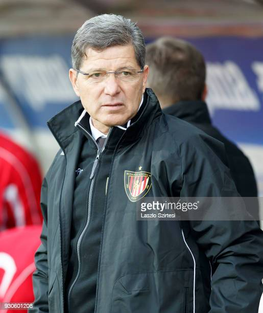 Head coach Attila Supka of Budapest Honved waits for the kickoff prior to the Hungarian OTP Bank Liga match between Vasas FC and Budapest Honved at...