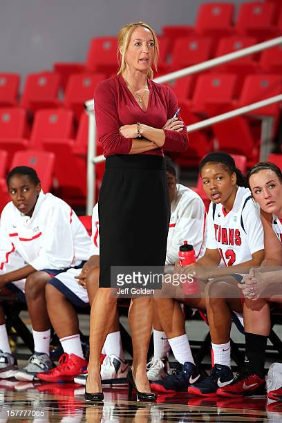 Head coach Autumn Rademacher of the Detroit Titans looks on against the South Alabama Jaguars at The Matadome on November 24 2012 in Northridge...