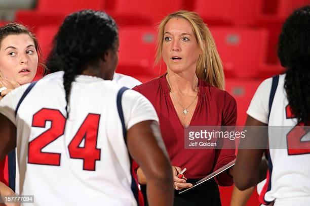 Head coach Autumn Rademacher of the Detroit Titans looks on during a timeout against the South Alabama Jaguars at The Matadome on November 24 2012 in...