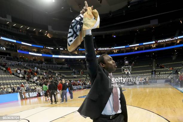 Head coach Avery Johnson of the Alabama Crimson Tide celebrates after defeating the Virginia Tech Hokies in the game in the first round of the 2018...