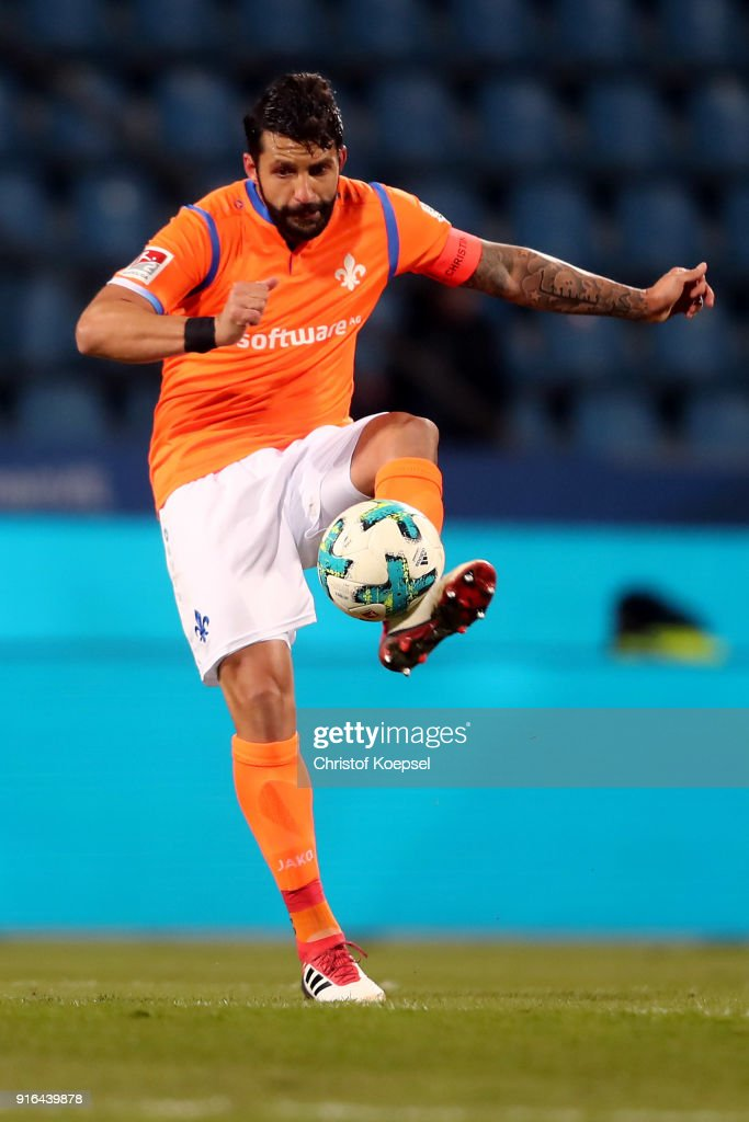 Head coach Aytac Sulu of Darmstadt runs with the ball during the Second Bundesliga match between VfL Bochum 1848 and SV Darmstadt 98 at Vonovia Ruhrstadion on February 9, 2018 in Bochum, Germany.The match between Bochum and Darmstadt ended 2-1.