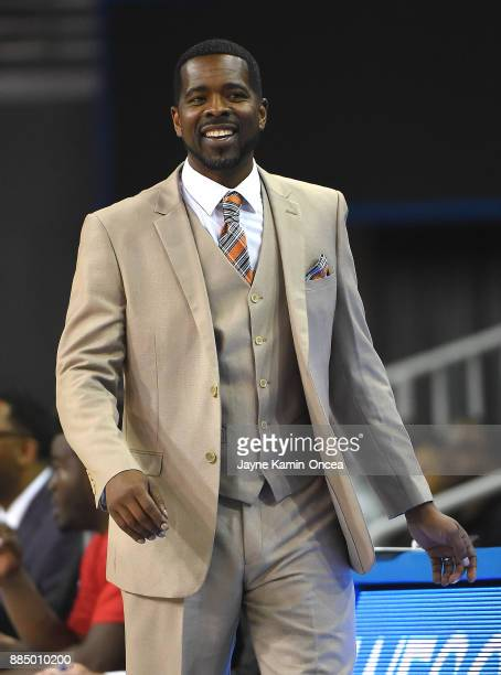 Head coach Bacari Alexander of the Detroit Mercy Titans in the first half of the game against the UCLA Bruins at Pauley Pavilion on December 3 2017...