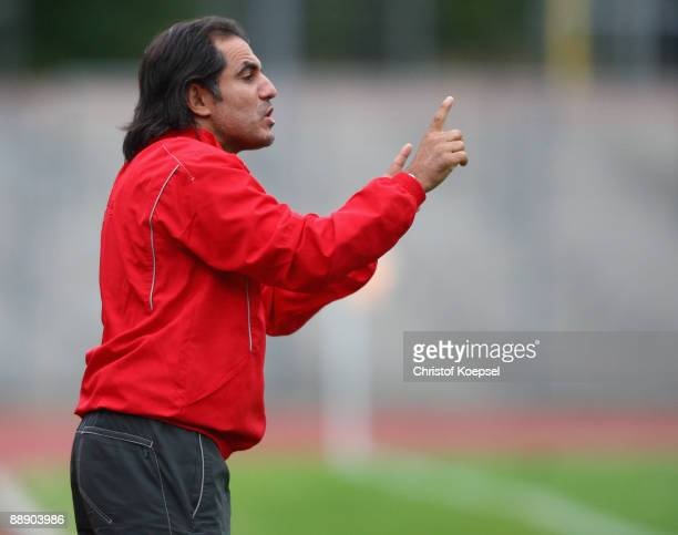 Head coach Badu Elzaki of Casablanca issues instructions to the team during the Zayon Cup match between Galatasaray Istanbul and Wydad AC Casablanca...