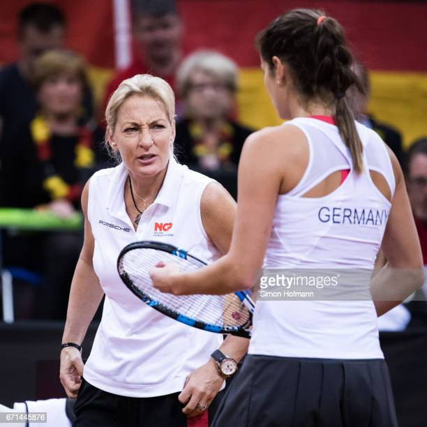 Head coach Barbara Rittner gives directions to Julia Goerges of Germany during the FedCup World Group Play-Off Match between Germany and Ukraine at...