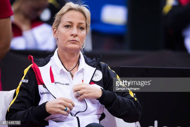 Head coach Barbara Rittner looks on during the FedCup World Group Play-Off Match between Germany and Ukraine at Porsche Arena on April 22, 2017 in...