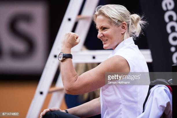 Head coach Barbara Rittner of Germany celebrates a point of Angelique Kerber against lesia Tsurenko during the FedCup World Group Play-Off Match...
