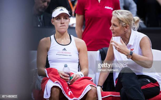 Head coach Barbara Rittner of Germany gives directions to Angelique Kerber during the FedCup World Group Play-Off Match between Germany and Ukraine...