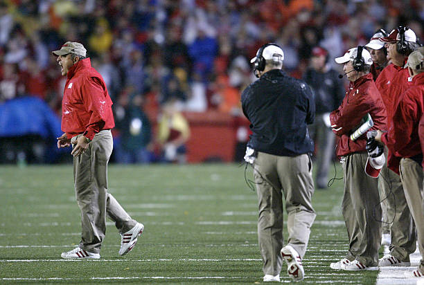 Head Coach Barry Alvarez Of The Wisconsin Badgers Yells Towards His Team Against Ohio State