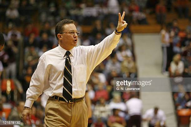 Head coach Barry Hinson of the Missouri State Bears shouts instructions during action against the Illinois State Redbirds in a Missouri Valley...