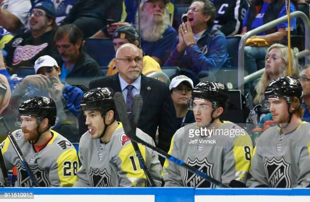 Head coach Barry Trotz of the Metropolitan Division AllStars during the 2018 Honda NHL AllStar Game between the Atlantic Division and the...