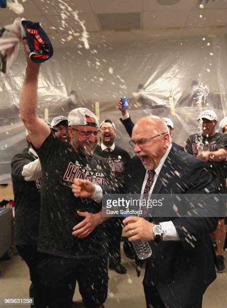 Head coach Barry Trotz of the Washington Capitals celebrates in the locker room after the Capitals won the Stanley Cup by defeated the Vegas Golden...