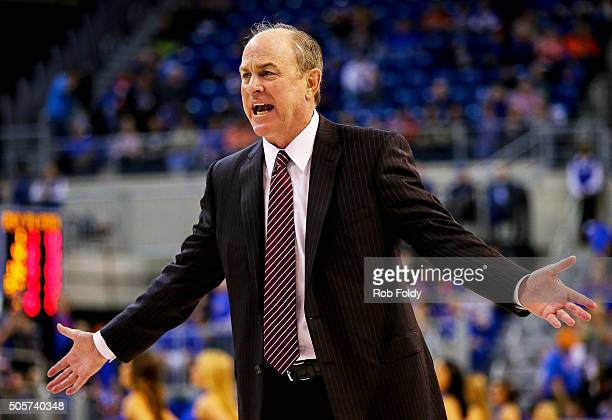 Head coach Ben Howland of the Mississippi State Bulldogs gestures during the game against the Florida Gators at the Stephen C O'Connell Center on...