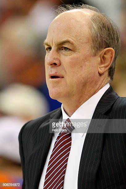 Head coach Ben Howland of the Mississippi State Bulldogs looks on during the game against the Florida Gators at the Stephen C O'Connell Center on...