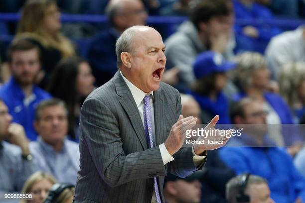 Head coach Ben Howland of the Mississippi State Bulldogs reacts against the Kentucky Wildcats during the first half at Rupp Arena on January 23 2018...