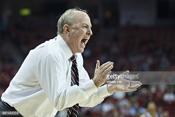 Head Coach Ben Howland of the Mississippi State Bulldogs shouts during the first half of a game against the Arkansas Razorbacks at Bud Walton Arena...
