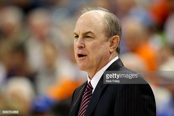 Head coach Ben Howland of the Mississippi State Bulldogs yells during the game against the Florida Gators at the Stephen C O'Connell Center on...
