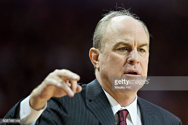 Head Coach Ben Howland of the Mississippi State Bulldogs yells instructions to his team during a game against the Arkansas Razorbacks at Bud Walton...
