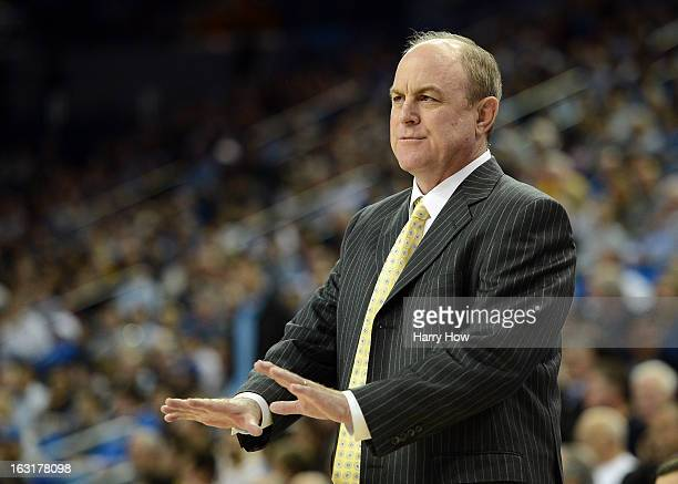 Head Coach Ben Howland of the UCLA Bruins along the sidelines during a 7974 UCLA win over the Arizona State Sun Devils at Pauley Pavilion on February...